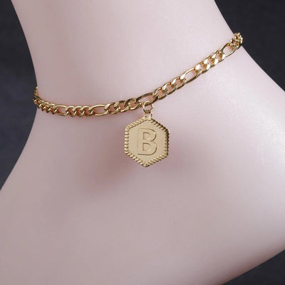 Hex Initial Anklet | Dorado Fashion