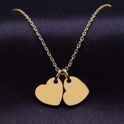 Double Heart Engraved Necklace | Dorado Fashion