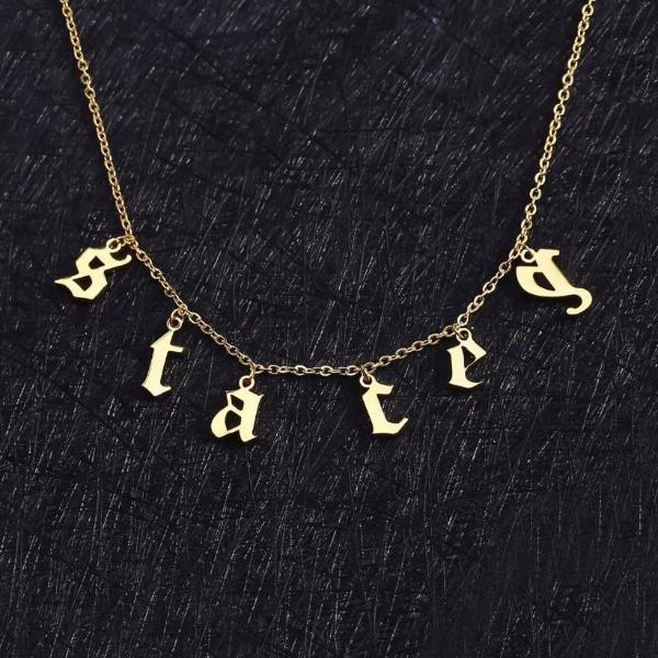 Old English Letter Necklace | Dorado Fashion