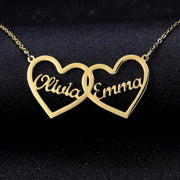 Double Heart Shape Name Necklace | Dorado Fashion