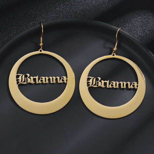 Round Old English Hoop Earrings | Dorado Fashion