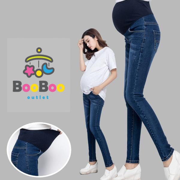 100% Cotton Elastic Thin Maternity Jeans-Booboooutlet