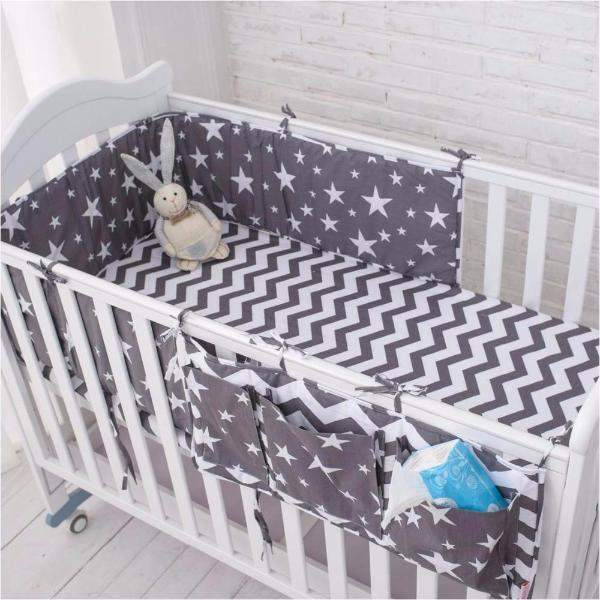 Grey Star Bedding Set, Baby Bed Bumpers Set-Baby&Toddler-Booboooutlet