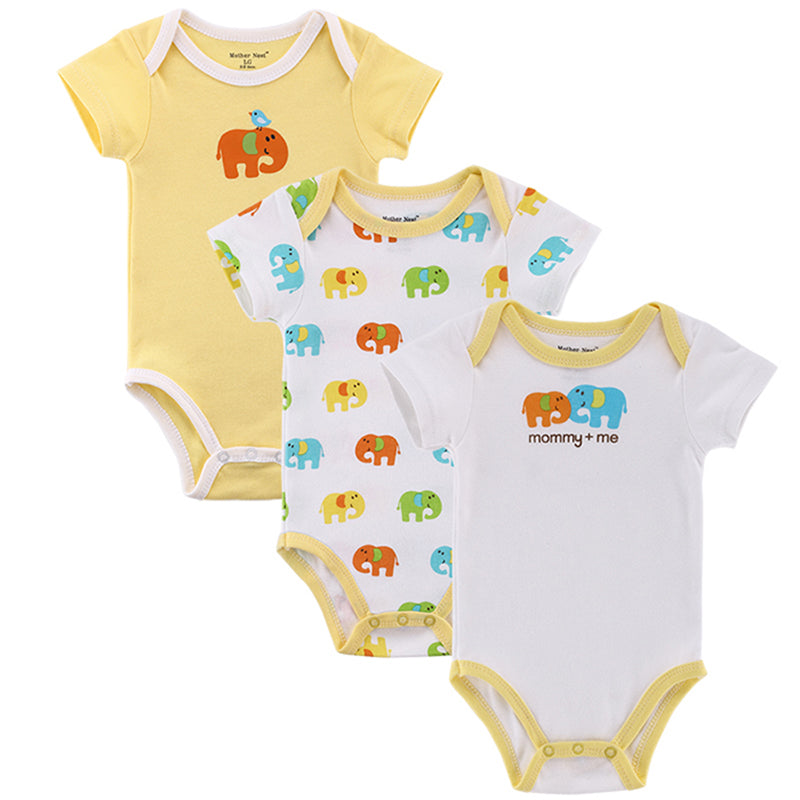 3 Pieces Short Sleeve Cotton Onesies