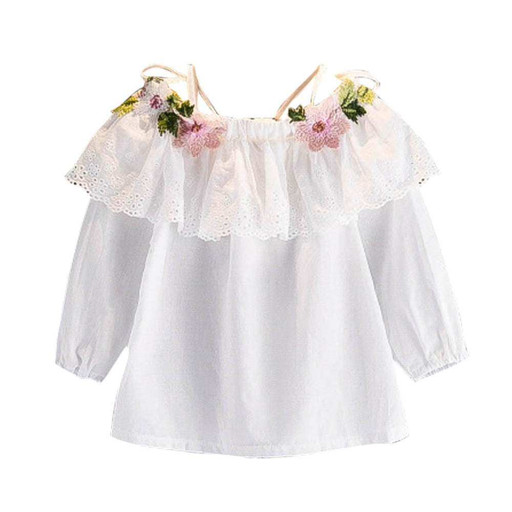Baby Girl White Blouse with Lace Flowers Embroidery