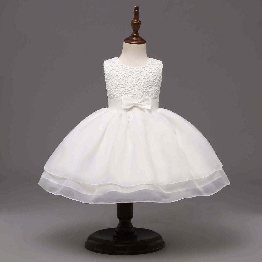 White Spring, Summer Princess Baby Girl Dress-Booboooutlet