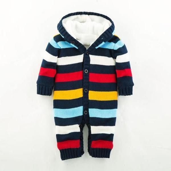 Thick Winter Striped Knitted Baby Rompers-Baby&Toddler-Booboooutlet