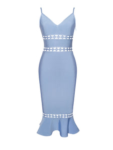 'Tina' Baby Blue Cut Out Mermaid Midi Bandage Dress - PYNK CONFESSIONS
