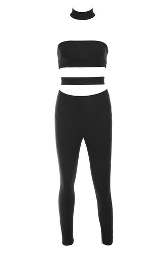 Serena Black Cut Out Panel Jumpsuit - PYNK CONFESSIONS