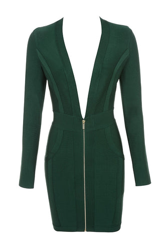 Exclusive Green Long Sleeve Bandage Dress - PYNK CONFESSIONS