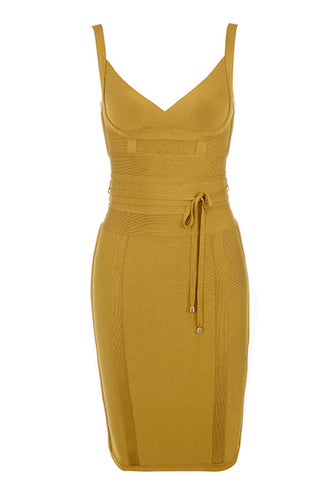 Alone Time Sexy Mustard Bandage Dress - PYNK CONFESSIONS