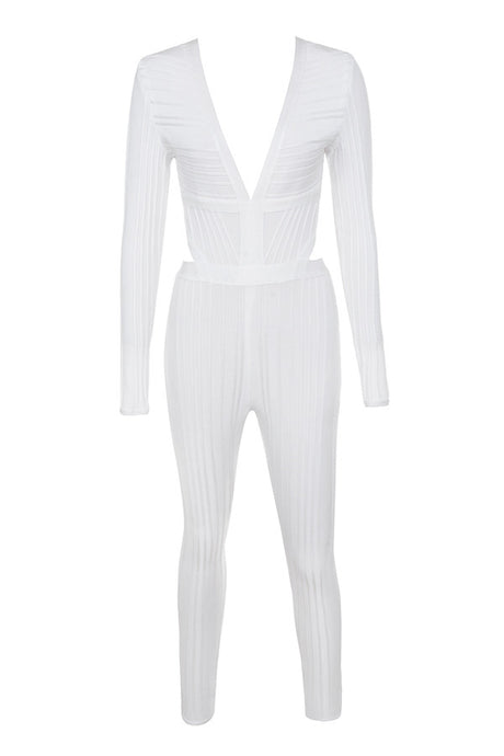 Too Much Glam White Plunge Neck Jumpsuit - PYNK CONFESSIONS
