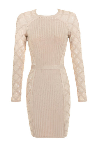 Nude Sequin Detail Bandage Dress