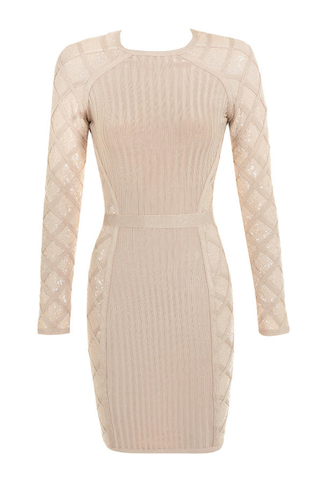 Nude Sequin Detail Bandage Dress - PYNK CONFESSIONS