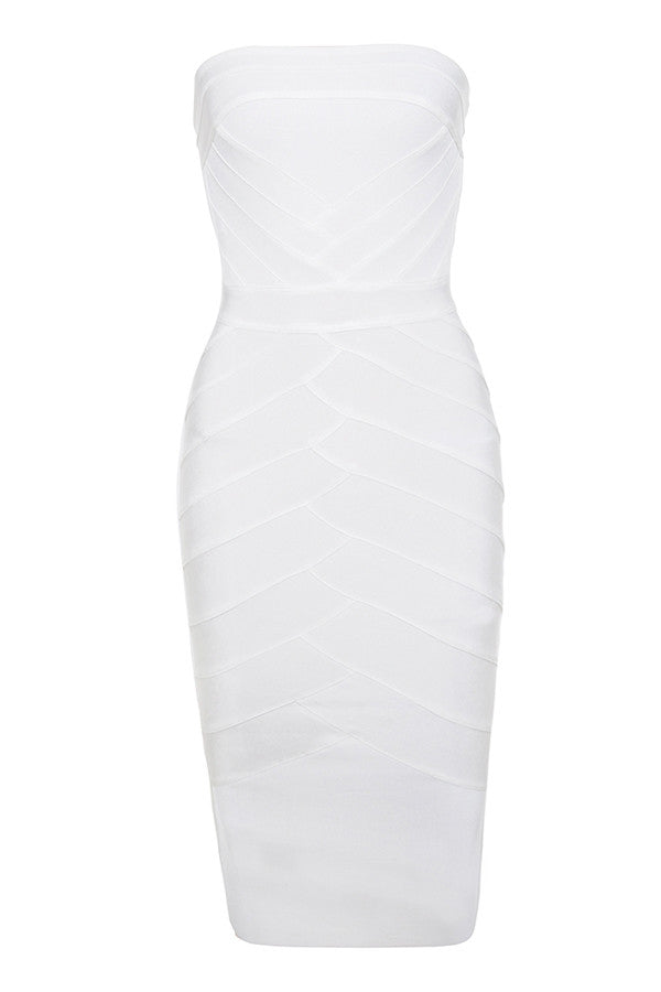 Sophisticated White Detailed Bandage Dress - PYNK CONFESSIONS