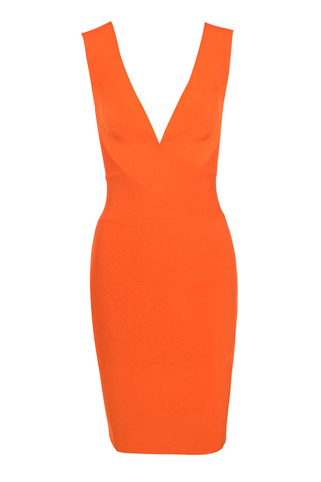 'Victoria' Neon Orange Deep V Bandage Dress - PYNK CONFESSIONS