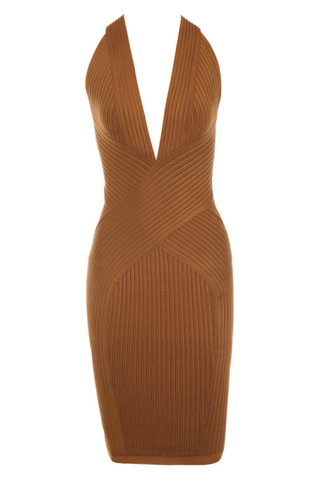 Rustic Rib Detailed Deep Bandage Dress - PYNK CONFESSIONS