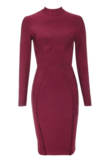 High Priority Wine Long Sleeve Bandage Dress - PYNK CONFESSIONS