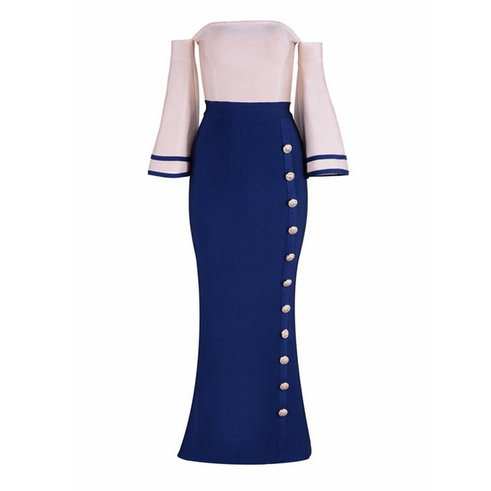 'Saint' Exclusive Navy Bell Sleeve Bandage Dress - PYNK CONFESSIONS