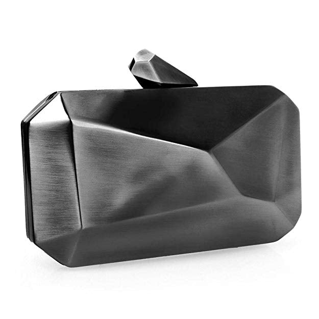 'Rebel' Gunmetal Gray Geometric Clutch - PYNK CONFESSIONS