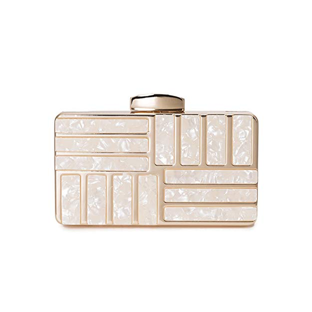 'Michi' Detailed Gold Acrylic Clutch - PYNK CONFESSIONS