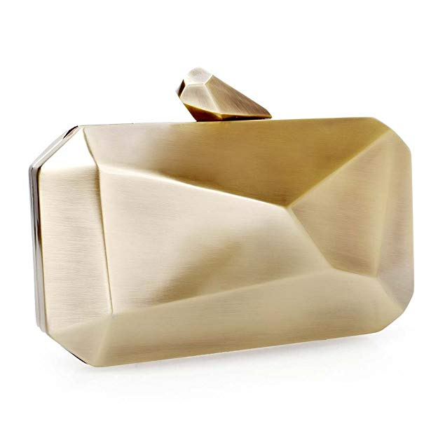 'Rebel' Gold Geometric Metal Accent Clutch - PYNK CONFESSIONS