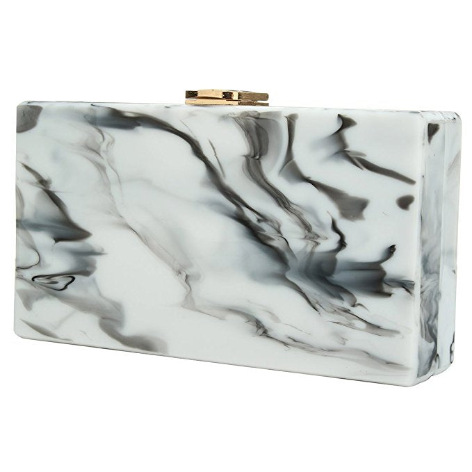 Stormy Marble Gray Acrylic Clutch - PYNK CONFESSIONS