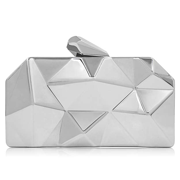 'Rebel' Silver Geometric Metal Accent Clutch - PYNK CONFESSIONS