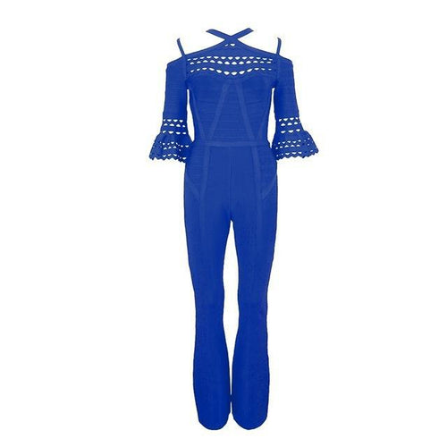 Royal Blue Cut Out Butterfly Sleeve Bandage Jumpsuit - PYNK CONFESSIONS