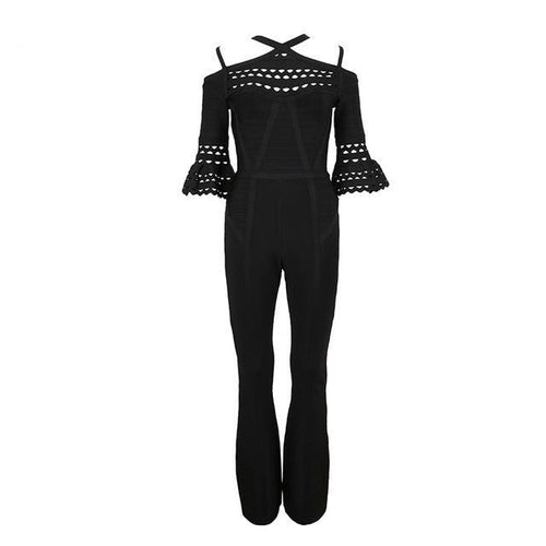 Black Cut Out Butterfly Sleeve Bandage Jumpsuit - PYNK CONFESSIONS