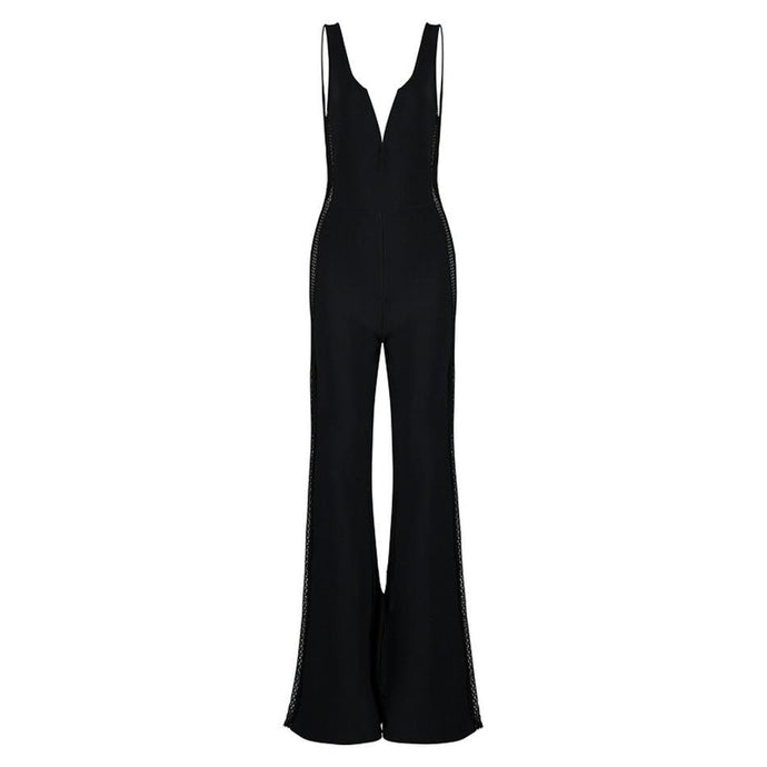 'Feisty' Black Bell Bottom Cutout Bandage Jumpsuit - PYNK CONFESSIONS