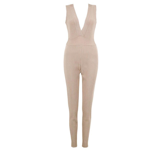 Stunning Nude Ribbed Deep V Bandage Jumpsuit - PYNK CONFESSIONS