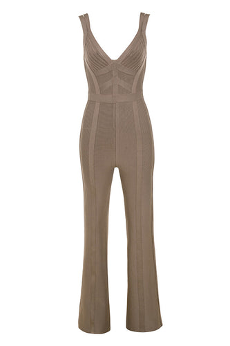 Jessica Taupe Double Strap Bandage Jumpsuit - PYNK CONFESSIONS
