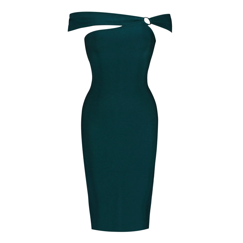 Dark Turquoise Off Shoulder Key Hole Bandage Dress - PYNK CONFESSIONS