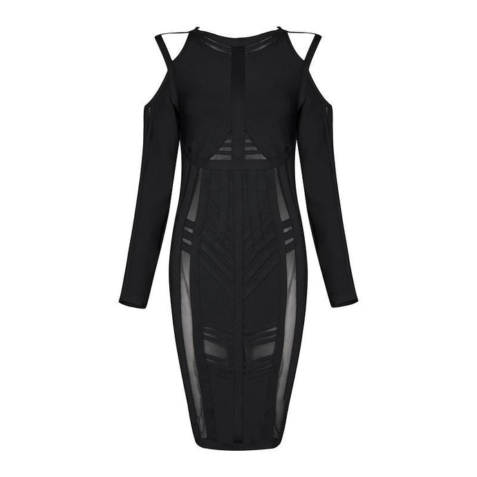 Midnight Black Mesh Bandage Dress - PYNK CONFESSIONS