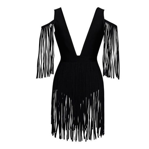 Chic Madness Black Fringe Mini Dress