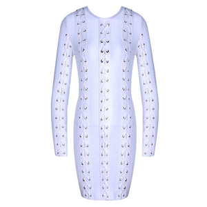 Exclusive Accent Long Sleeve Gold Accessory White Bandage Dress