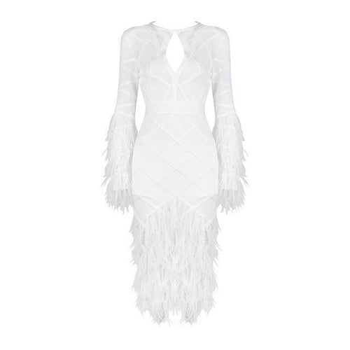 Designer White Feather Detail Bandage Dress - PYNK CONFESSIONS