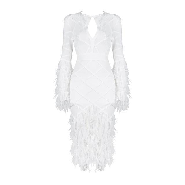 Designer White Feather Detail Bandage Dress