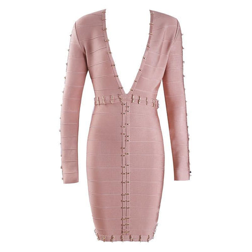 Luxe Embellished Muave Bandage Dress - PYNK CONFESSIONS