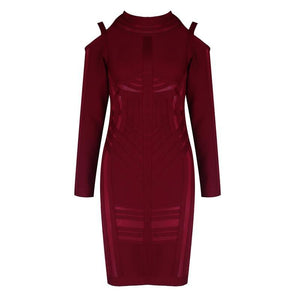 Wine Red Mesh Bandage Dress - PYNK CONFESSIONS