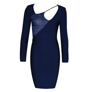 Navy Cut Out Lace Bandage Dress - PYNK CONFESSIONS