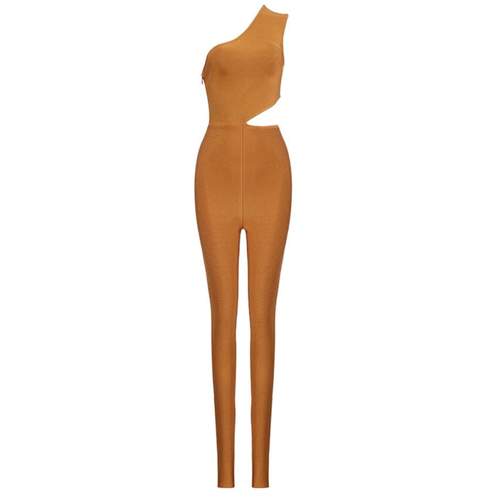 Stylish Bronze Cut Out Bandage Jumpsuit