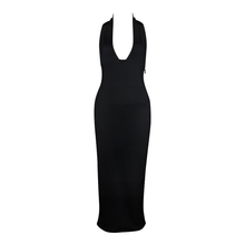 'Affair' Black Ribbed Deep V Maxi Bandage Dress - PYNK CONFESSIONS