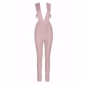 'Sin' Nude Deep Splice Bandage Jumpsuit - PYNK CONFESSIONS