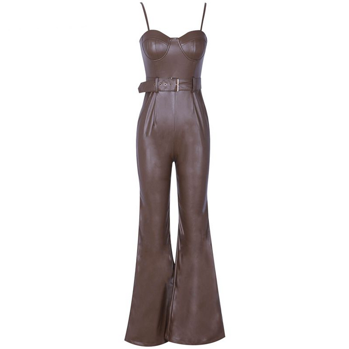 'Shot Caller' Chocolate Leather Wide Leg Jumpsuit - PYNK CONFESSIONS