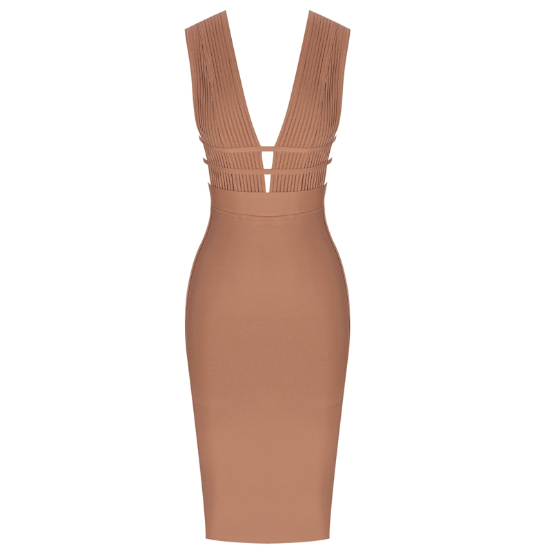 'Relations' Camel Hollow Cut Out Bandage Dress - PYNK CONFESSIONS