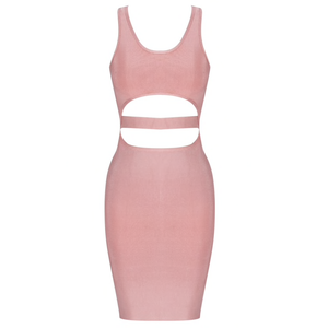 'Claire' Peak Cut Out Sexy Mauve Bandage Dress - PYNK CONFESSIONS