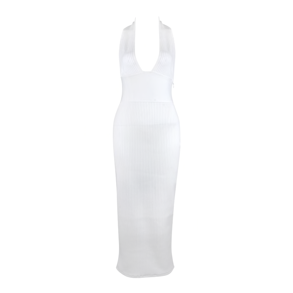 'Affair' White Ribbed Deep V Maxi Bandage Dress - PYNK CONFESSIONS