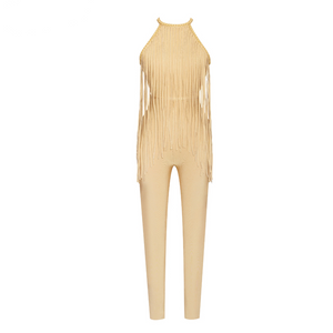 'Labelle' Yellow Embellished Backless Fringe Jumpsuit - PYNK CONFESSIONS